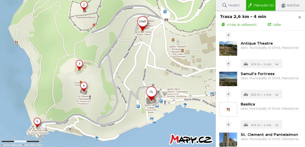 Mapa Ohrid