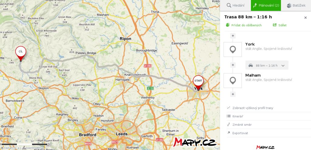mapa York - Malham