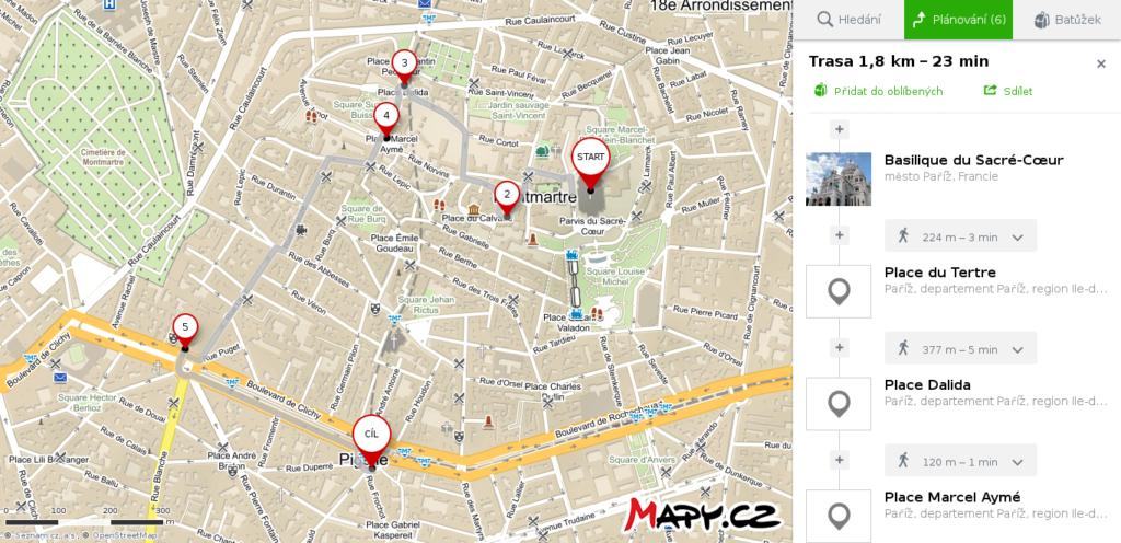 Mapa Paříž