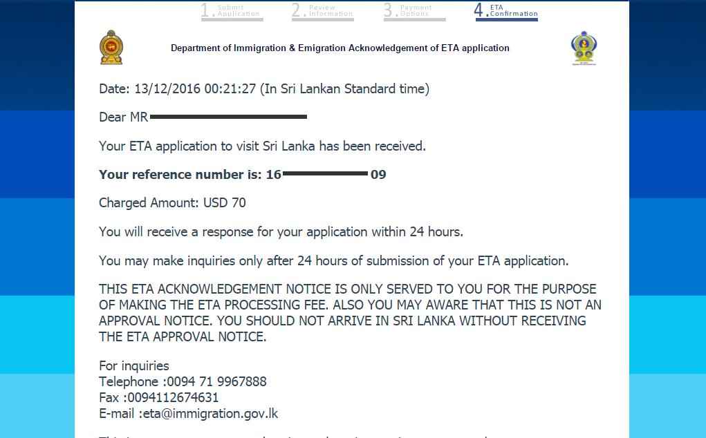 Podrobný návod jak vyplnit ETA Srí Lanka