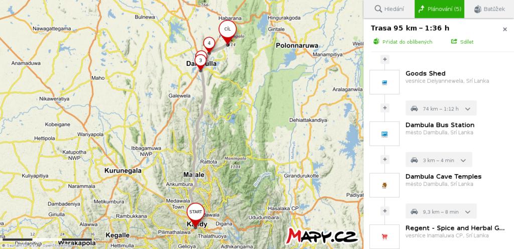 Mapa Kandy - Dambulla - Sigiriya