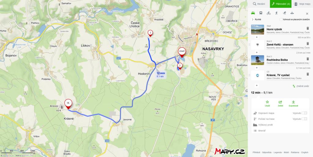 Mapa výletu do Nasavrk