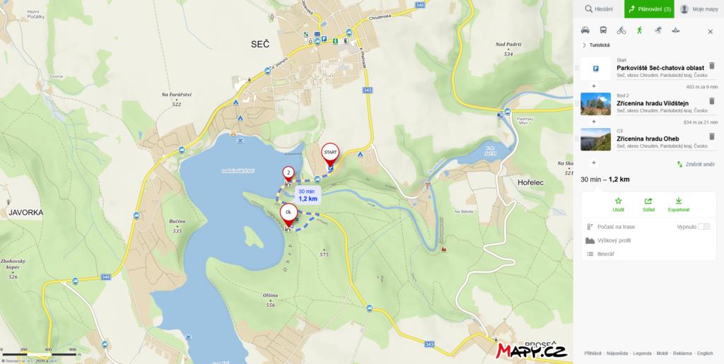Mapa trasy výletu na Seč