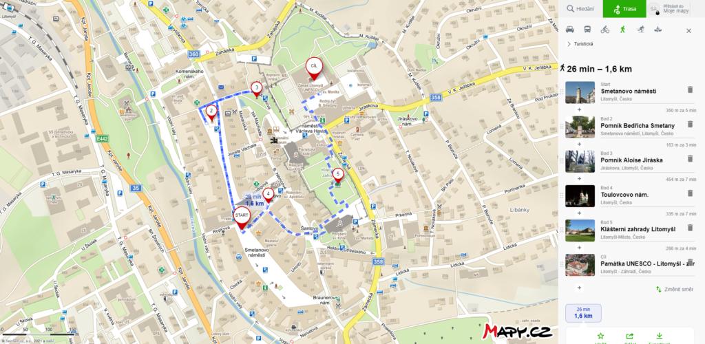 Mapa výletu do Litomyšle